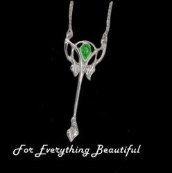 Art Nouveau Green Peridot Long Leaf Sterling Silver Pendant