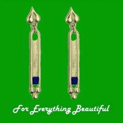 Art Deco Design Iolite 9K Yellow Gold Drop Earrings