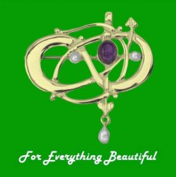 Art Nouveau Amethyst Pearl 9K Yellow Gold Brooch