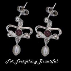 Art Nouveau Amethyst Pearl Sterling Silver Drop Earrings