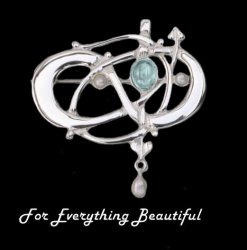 Art Nouveau Blue Moonstone Pearl Sterling Silver Brooch