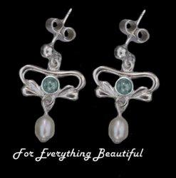 Art Nouveau Blue Moonstone Pearl Sterling Silver Earrings