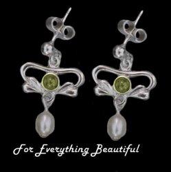 Art Nouveau Citrine Pearl Sterling Silver Drop Earrings