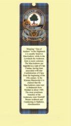 Anderson Clan Tartan Clan Anderson Badge Laminated Bookmarks Set Of 2