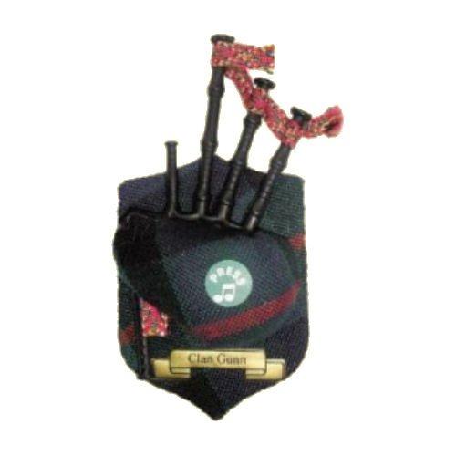 Image 1 of Gunn Clan Tartan Musical Bagpipe Fridge Magnets Set of 2