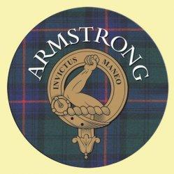 Armstrong Clan Crest Tartan Cork Round Clan Badge Coasters Set of 2