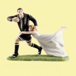 A Love Match Rugby Couple Hand Painted Porcelain Wedding Cake Topper