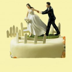 A Race to the Altar Couple Hand Painted Porcelain Wedding Cake Topper