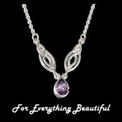 Amethyst Teardrop Adjustable Sterling Silver Necklace