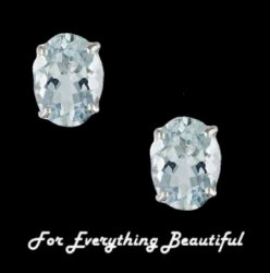 Aquamarine Pale Blue Oval Stud Sterling Silver Earrings