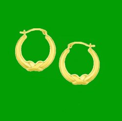 10K Yellow Gold Cross Knot Round Hoop Earrings