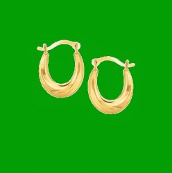 10K Yellow Gold Simple Oval Half Hoop Earrings