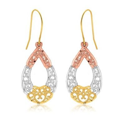Image 1 of 10K Tri-Colour Gold Fancy Open Oval Textured Drop Earrings