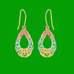 10K Tri-Colour Gold Fancy Open Oval Textured Drop Earrings