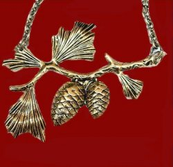 Acorn Branch Design Antiqued Brass Gold Plated Necklace