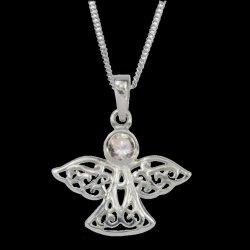 Birthstone Celtic Angel April Stone Sterling Silver Pendant
