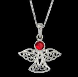 Birthstone Celtic Angel July Stone Sterling Silver Pendant