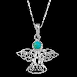 Birthstone Celtic Angel December Stone Sterling Silver Pendant