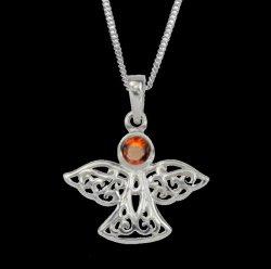 Birthstone Celtic Angel January Stone Sterling Silver Pendant
