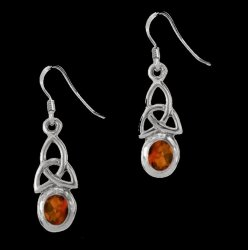 Birthstone Celtic Trinity Knotwork January Stone Sterling Silver Earrings