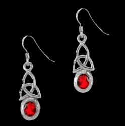 Birthstone Celtic Trinity Knotwork July Stone Sterling Silver Earrings
