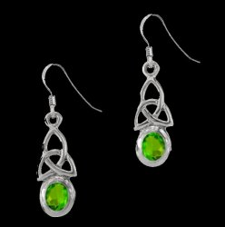 Birthstone Celtic Trinity Knotwork August Stone Sterling Silver Earrings
