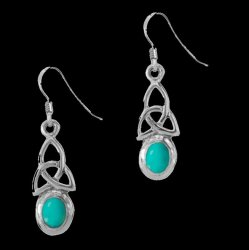 Birthstone Celtic Trinity Knotwork December Stone Sterling Silver Earrings