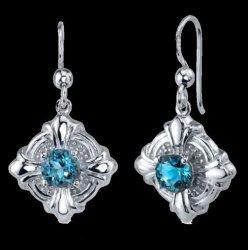 London Blue Topaz Round Cut Circle Sterling Silver Earrings