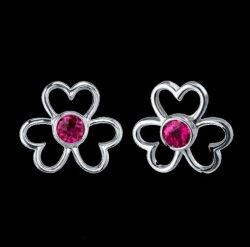 Red Ruby Round Cut Flower Sterling Silver Earrings