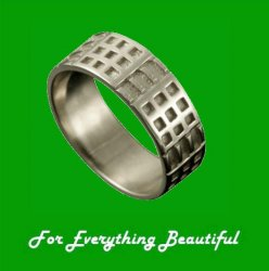 Art Deco Mackintosh 18K White Gold Ring Wedding Band Sizes R-Z