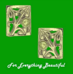 Art Nouveau Leaf Citrine Square 9K Yellow Gold Earrings