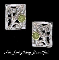 Art Nouveau Leaf Citrine Square Sterling Silver Earrings