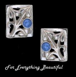 Art Nouveau Leaf Labradorite Square Sterling Silver Earrings