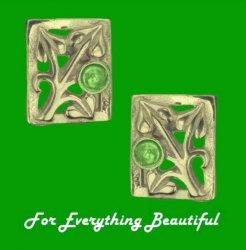 Art Nouveau Leaf Green Peridot Square 9K Yellow Gold Earrings