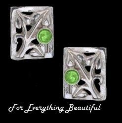 Art Nouveau Leaf Green Peridot Square Sterling Silver Earrings