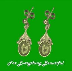 Art Nouveau Leaf Citrine 9K Yellow Gold Drop Earrings