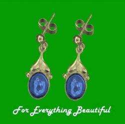Art Nouveau Leaf Labradorite 9K Yellow Gold Drop Earrings
