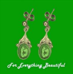 Art Nouveau Leaf Green Peridot 9K Yellow Gold Drop Earrings