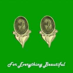 Art Nouveau Leaf Citrine 9K Yellow Gold Stud Earrings