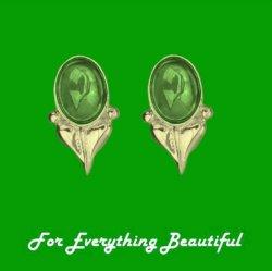 Art Nouveau Leaf Green Peridot 9K Yellow Gold Stud Earrings
