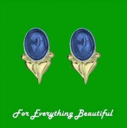 Art Nouveau Leaf Labradorite 9K Yellow Gold Stud Earrings