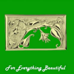 Art Nouveau Rectangular Design 9K Yellow Gold Brooch