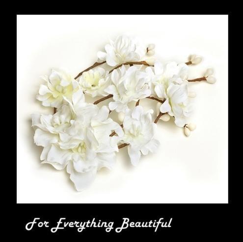 Image 0 of White Silk Bohemian Flower Twig Spray Wedding Bridal Hairclip
