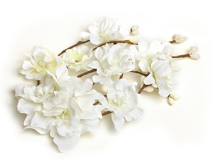 Image 1 of White Silk Bohemian Flower Twig Spray Wedding Bridal Hairclip
