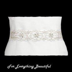 Ivory Floral Crystal Rhinestone Matte Satin Ribbon Wedding Sash Belt