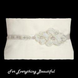 Ivory Floral Cluster Crystal Pearl Satin Ribbon Wedding Sash Belt