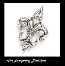 Antique Silver Crystal Fleur de Lis Silver Plated Brooch