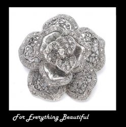 Antique Silver Crystal Rose Floral Silver Plated Brooch