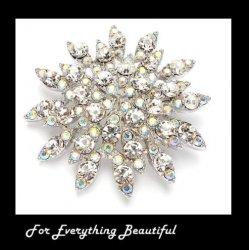 Aurora Borealis Crystal Bursting Flower Silver Plated Brooch