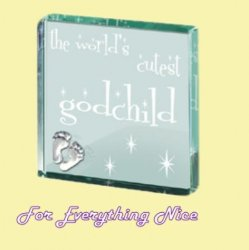 Worlds Cutest Godchild Themed Glass Pewter Motif Square Paper Weight Souvenir
